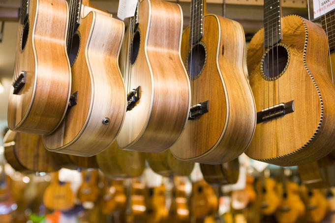 Ukeleles at Bounty Music, Kahului, Central Maui.