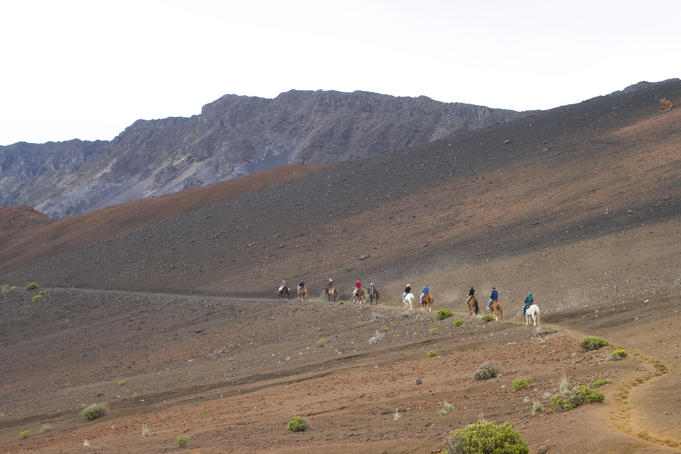 Horseriders on the Sliding Sands Trail, Haleakala National Park.