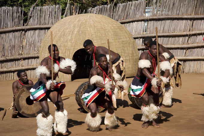 Traditional dancers at cultural Swazi show at Swazi village Matsamo.