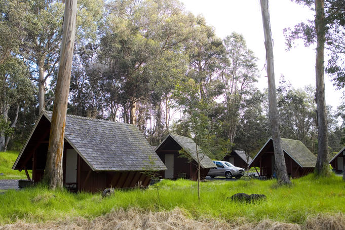 Cabins at Namakanipaio campground, HAVO.