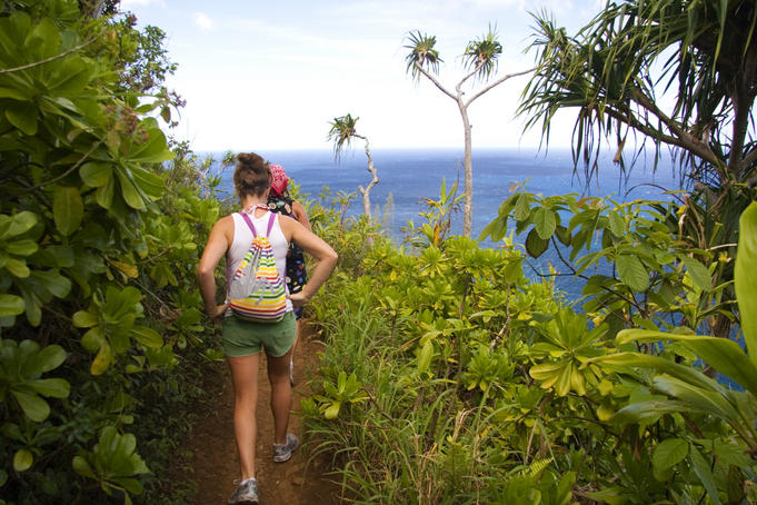 Hikers on the Kalalau Trail.