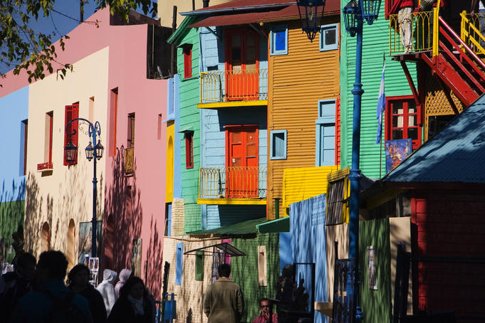 Brightly-coloured buildings in La Boca district.
