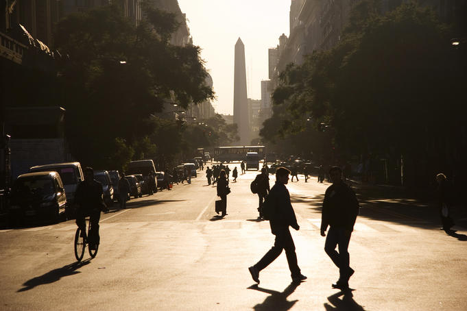Downtown Buenos Aires, looking towards the Obelisco.