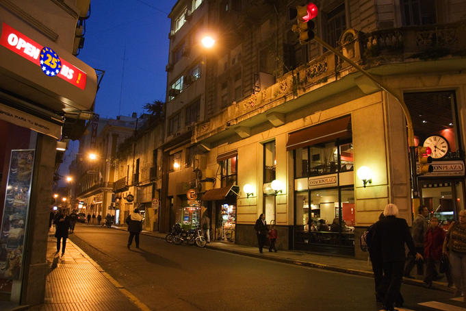 Downtown Buenos Aires street scene at night.