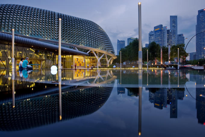 Reflection in pond near Esplanade Theatres on the Bay.