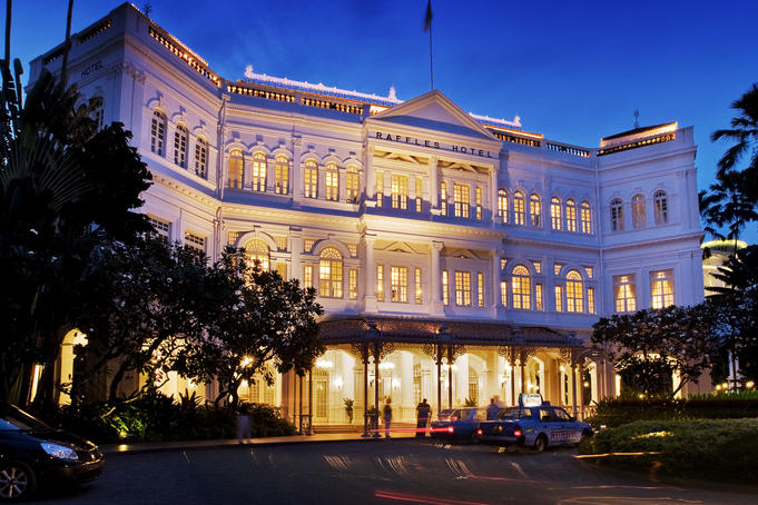 Raffles Hotel Facade at twilight.