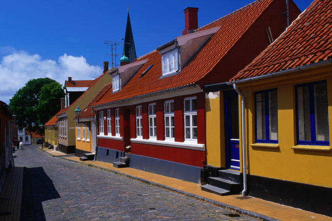 Colourful houses on Vimmerskaftet Street in Ronne.
