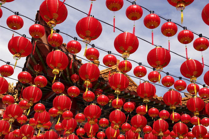 Rows of Chinese New Year lanterns hanging at Thean Hou Temple.