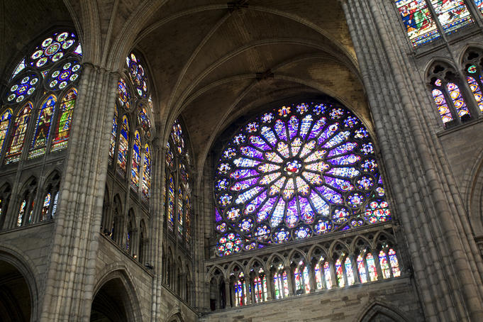 Stained-glass window interior of Saint Denis Basilica.
