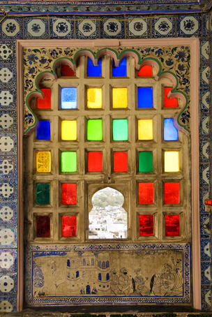 Coloured window detail in City Palace.