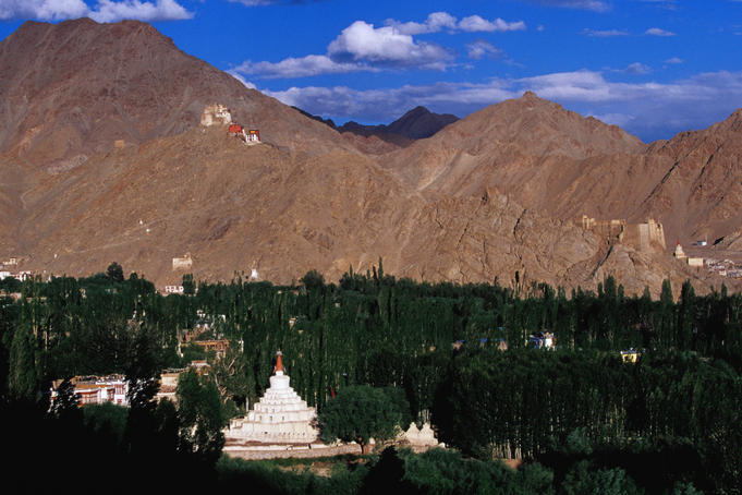 Stupa and ridge with palace and Namgyal Tsemo Monastery.