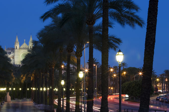 Passeig Maritim promenade and La Seu Palma Cathedral at night.
