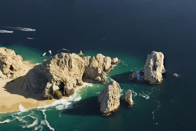 Aerial of Land's End rocks.