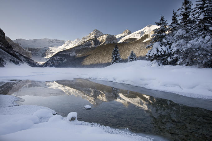 Lake Louise and surrounding mounatins in winter.