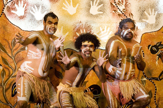 Indigenous performers at Aboriginal and Torres Strait Islander Cultural Centre.