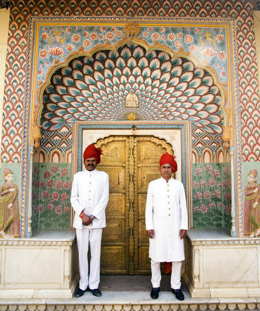 Palace Guards at Peackock Gate, Pitam Niwas Chowk, City Palace.