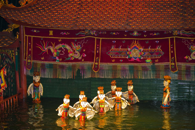 Scene from Water Puppet Theatre, Hoan Kiem Lake area, Old Quarter.