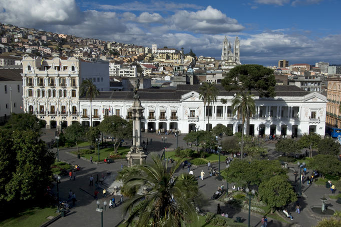 Plaza Grande (previously Plaza de la Independencia) seen from Quito Primate Cathedral, Centro Historico (Old town).