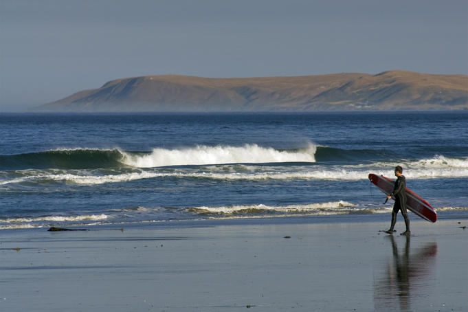 Surfer walking on Morro Strand State Beach.