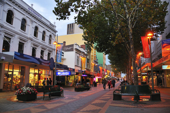 Elizabeth St Mall at dusk.