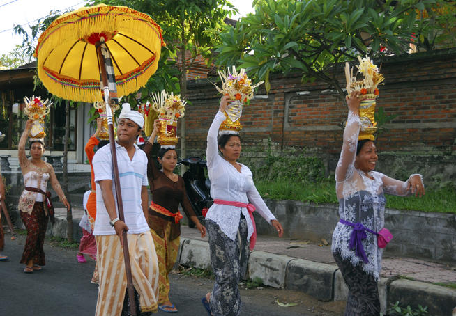 Procession on the streets of Ubud.