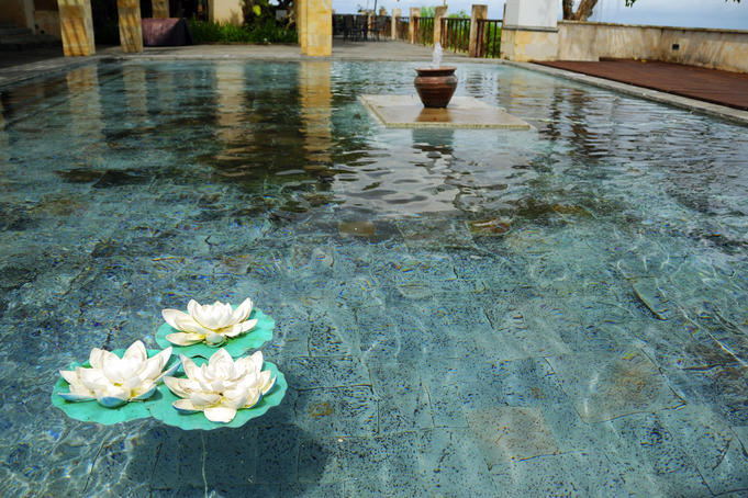 Lotus flowers on pool at Garuda Wisnu Kencana.