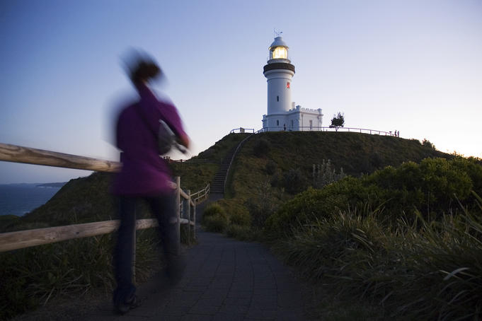 Cape Byron Lighthouse at dusk.