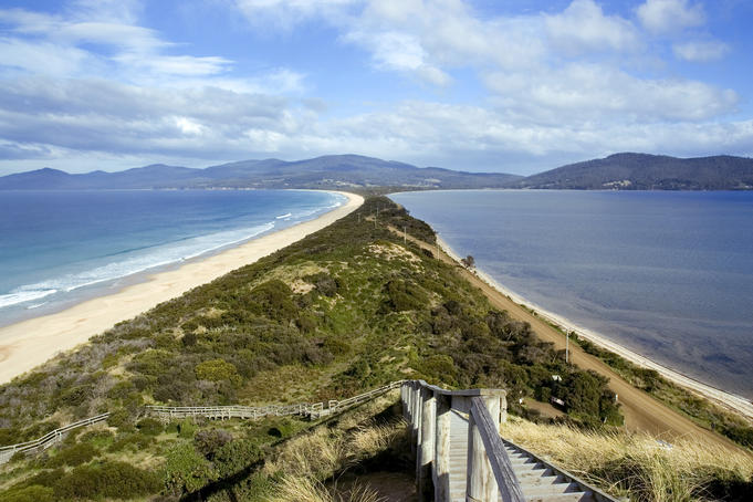 Isthmus between North Bruny Island and South Bruny Island.