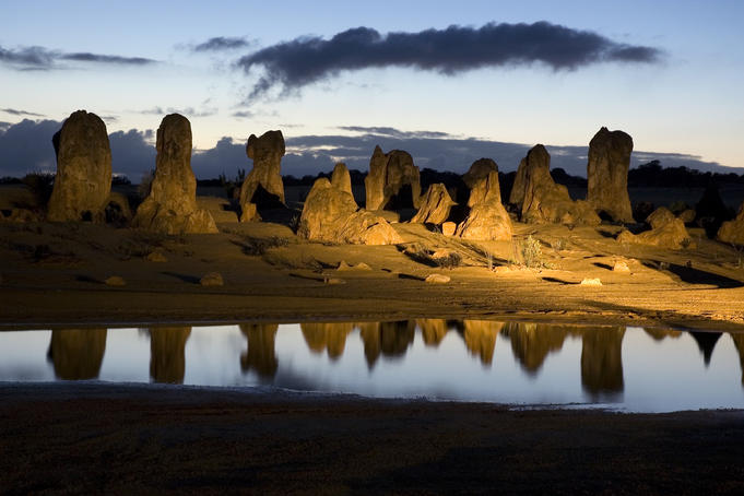 Limestone formations in Pinnacles Desert at dawn.