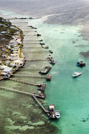 Aerial of part of the cluster of Houtman Abrolhos Islands and surrounding reef.