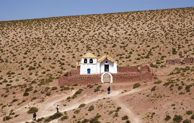Quaint church in the tiny village of Machuca, between El Tatio Geysers and San Pedro de Atacama.
