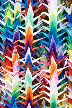 Colourful paper cranes at Fushimi Inari Shrine.