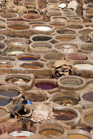 Dyeing pits at Chouara leather tannery.