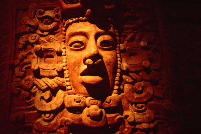 Stone relief detail of the Mayan rain god Chac in the Maya room of Museo Nacional de Antropologia