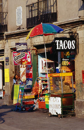 A small taco stand near the Zocalo in Mexico City