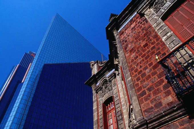 The old and the new on Paseo de la Reforma in Mexico City