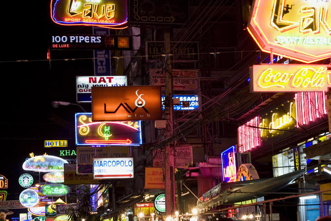 Khao San Road night lights.