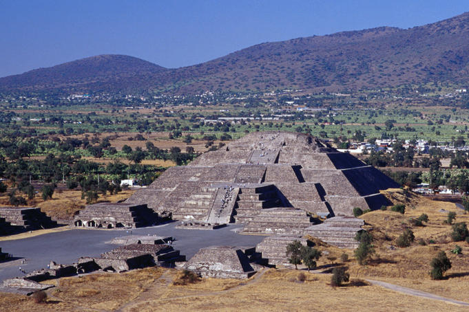 The Pyramid of the Moon at Teotihuacan, the front courtyard area is thought to have been the site for religious dancing