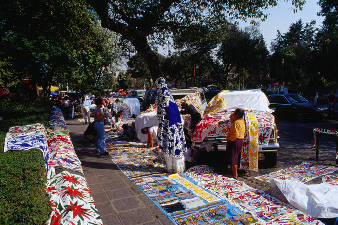 Fabrics and textiles for sale at the Saturday Bazaar in Mexico City