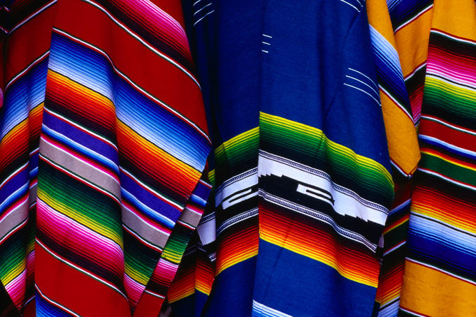 The great colours in Mexican traditional ponchos or sarapes in the Centro de Artesanias la Ciudadela