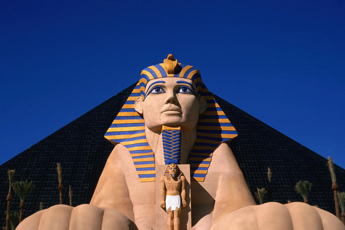 The facade of the Luxor Resort: a replica of an Egyptian Statue - Las Vegas, Nevada