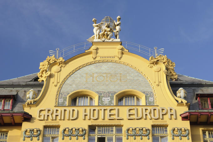 Facade of Art Nouveau Grand Hotel Evropva at Wenceslas Square.