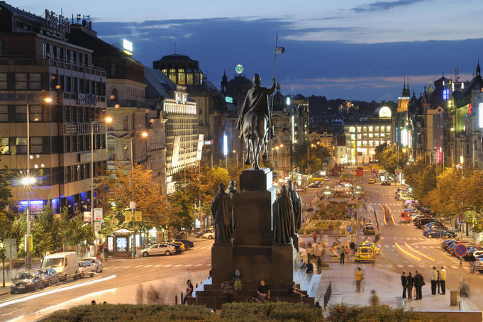 Statue of St Wenceslas at Wenceslas Square during twilight, Nove Mesto.