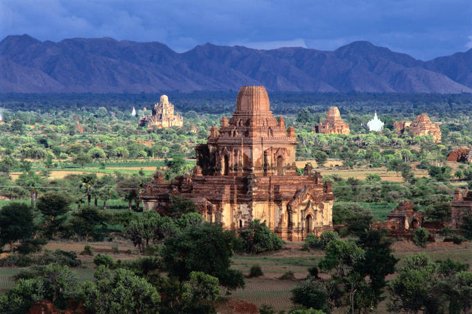 Temples, pagodas, monasteries and other religious structures on plains of Bagan. (Please credit photographer as Daniel Young.)