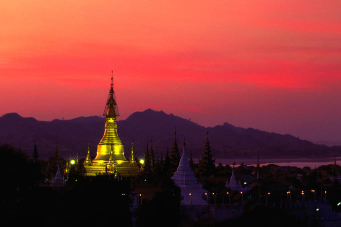 Shwesandaw Pagoda illuminated at dusk. (Please credit photographer as Daniel Young.)