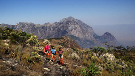 Three hikers, Mount Mulanje, southern Malawi