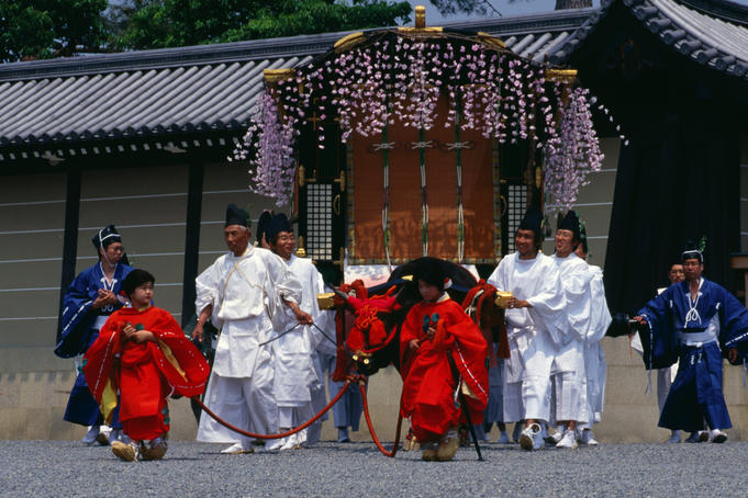 Ox drawn cart with attendants for Aoi Matsuri (Hollyhock Festival) in Kyoto.