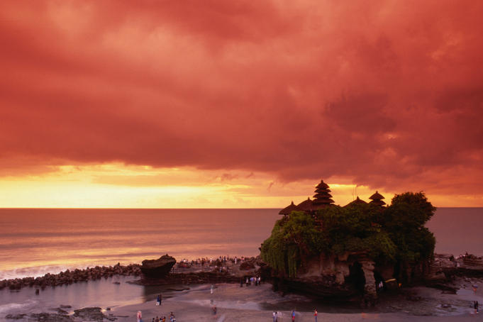 Tanah Lot, sea temple, at sunset.