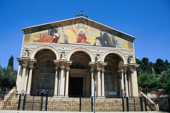 The Church of All Nations in Jerusalem was built in 1924 and is famous for its mosaic facade depicting Jesus assuming the suffering of the world, hence the alternative name of Basilica of the Agony