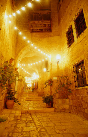 The wonderful old port city of Jaffa in Tel Aviv illuminated at night